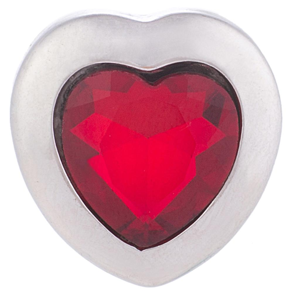 Snap Jewelry Red Heart Shape Rhinestone 18-20mm Snap
