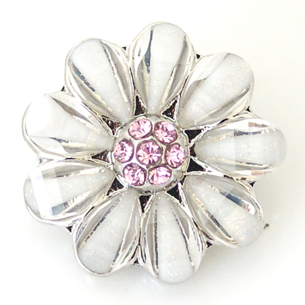 Snap Jewelry Rhinestone - 9 Clear Petals Pink Cluster