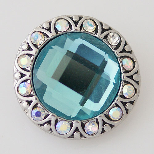 Snap Jewelry Rhinestone - Faceted Crystal Design - Light Blue