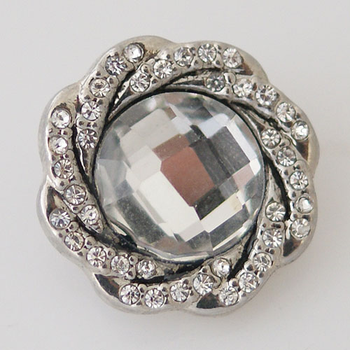 Snap Jewelry Rhinestone - Faceted Weaved Center - Clear