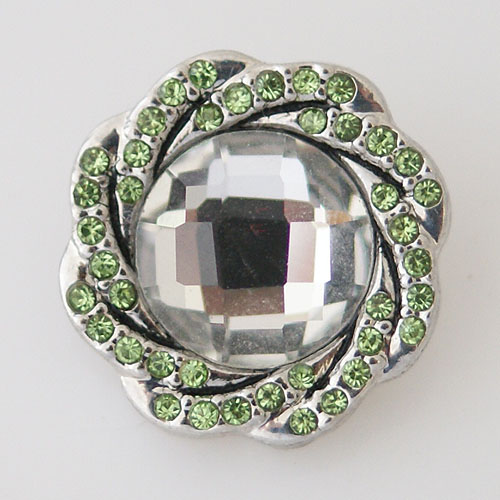 Snap Jewelry Rhinestone - Faceted Weaved Center - Lime