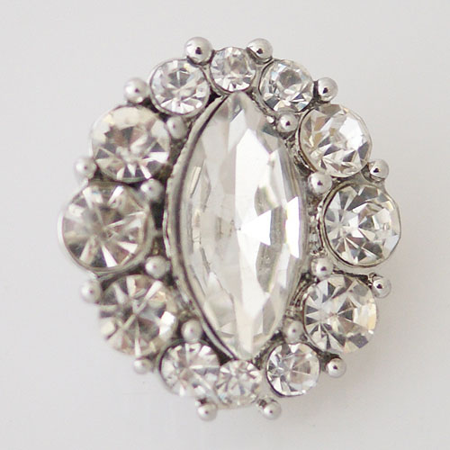 Snap Jewelry Rhinestone - Faceted Oval Center - Clear