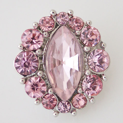 Snap Jewelry Rhinestone - Faceted Oval Center - Pink