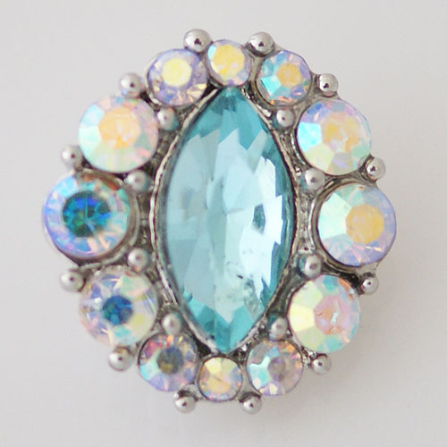 Snap Jewelry Rhinestone - Faceted Oval CEnter - Light Blue