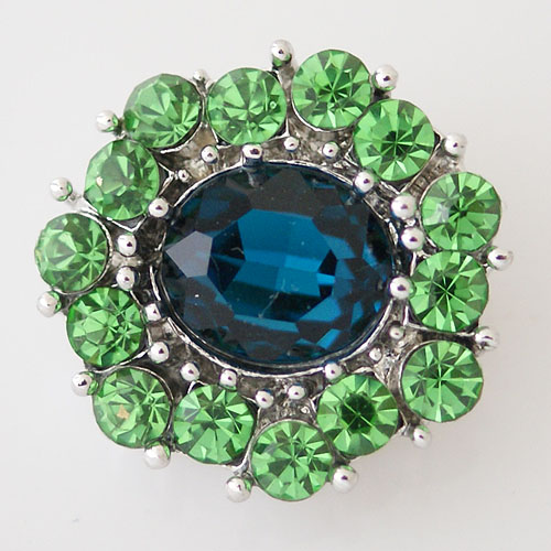 Snap Jewelry Rhinestone - Faceted Center Cut - Teal & Lime