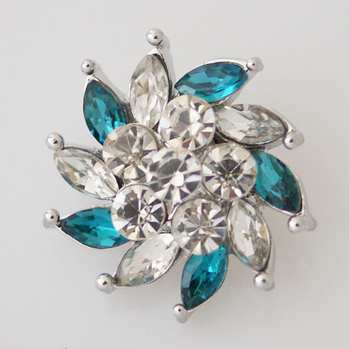 Snap Jewelry Rhinestone - Faceted Pinwheel - Clear & Teal