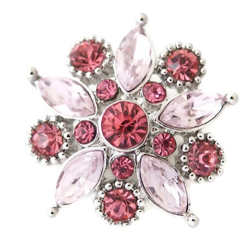 Snap Jewelry Rhinestone - Faceted Flower Design - Shades of Pink