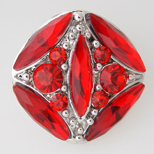 Snap Jewelry Rhinestone - Faceted Oval Crystal - Holdiay Red
