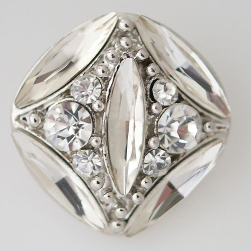 Snap Jewelry Rhinestone - Faceted Oval Crystal - Clear
