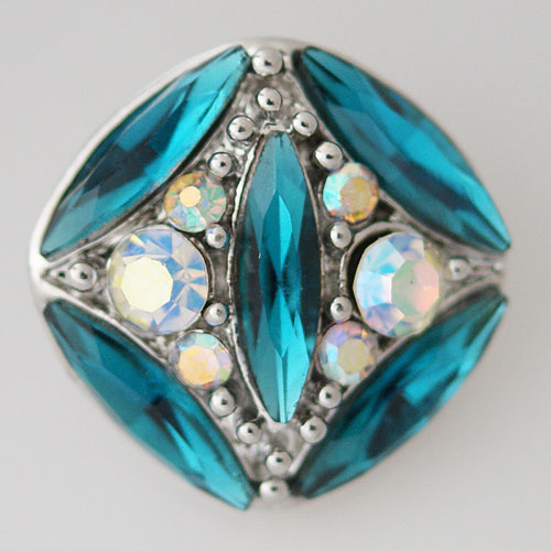 Snap Jewelry Rhinestone - Faceted Oval Crystal - Teal & AB
