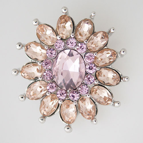 Snap Jewelry Rhinestone - Faceted Flower Petals - Peach & Pink