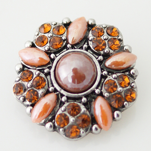 Snap Jewelry Stone - Flower & Rhinestone - Brown & Peach