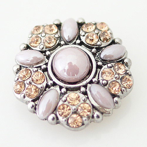 Snap Jewelry Stone - Flower & Rhinestone - Beige & Peach