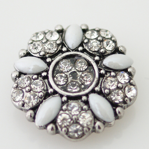 Snap Jewelry Stone - Flower & Rhinestone - White & Clear