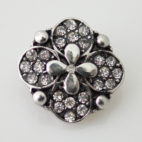 Snap Jewelry Rhinestone - Flower - Clear