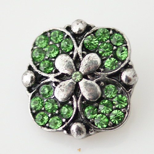 Snap Jewelry Rhinestone - Flower - Lime Peridot Green