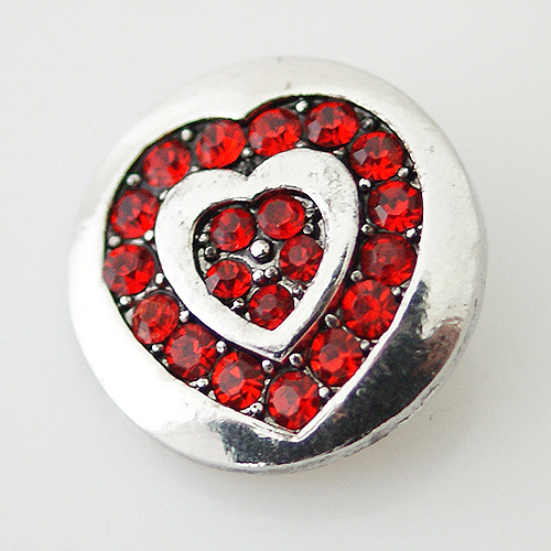 Snap Jewelry Rhinestone - Heart Double Red
