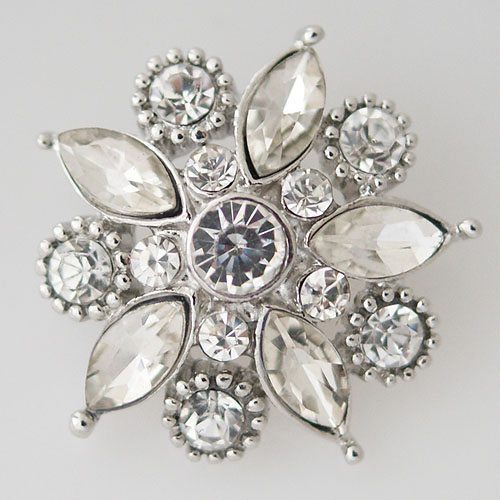 Snap Jewelry Rhinestone - Faceted Flower Design - Clear