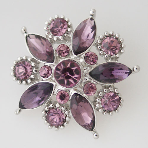 Snap Jewelry Rhinestone - Faceted Flower Design - Purples