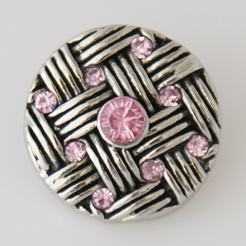 Snap Jewelry Rhinestone - Weaved Design - Light Pink