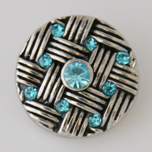 Snap Jewelry Rhinestone - Weaved Design - Light Blue