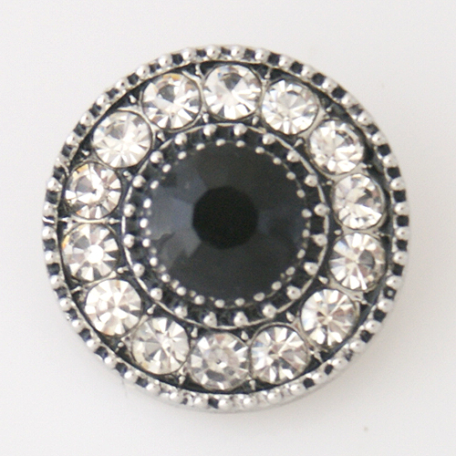Snap Jewelry Rhinestone - Black & Clear