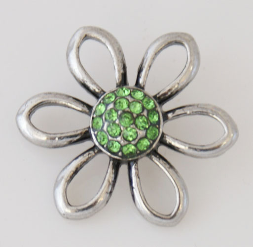 Snap Jewelry Rhinestone - Open Flower - Lime Green