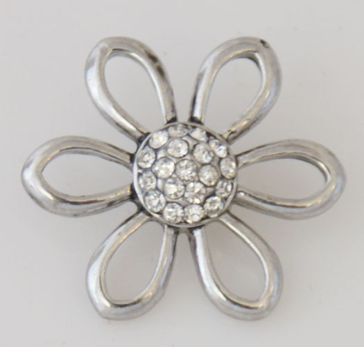 Snap Jewelry Rhinestone - Open Flower - Clear