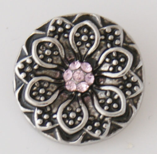 Snap Jewelry Rhinestone - Flower - Light Pink