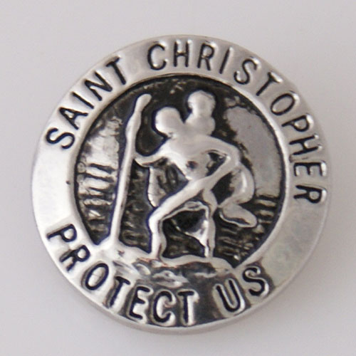 Snap Jewelry Metal - Silver Saint Christopher Protect Us