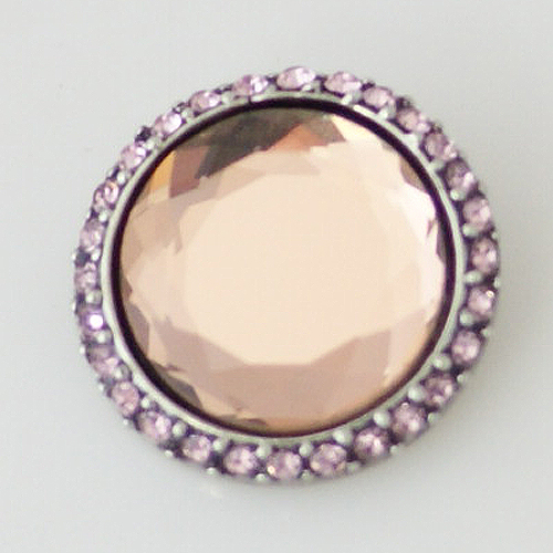 Snap Jewelry Rhinestone - Circle Design - Pink