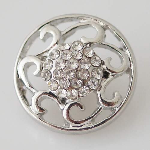 Snap Jewelry Rhinestone - Open Filigree Design - Clear