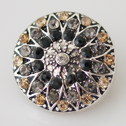 Snap Jewelry Rhinestone - Flower - Beige, Gray & Black