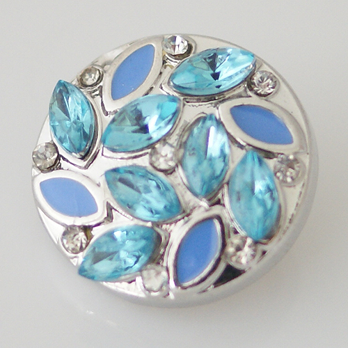 Snap Jewelry Rhinestone - Leaf Design - Light Blue & Blue