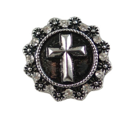 Snap Jewelry Rhinestone - Cross Clear