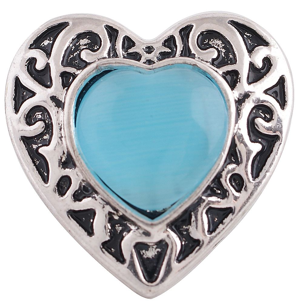 Snap Jewelry Stone - Heart Shaped & Blue Stone