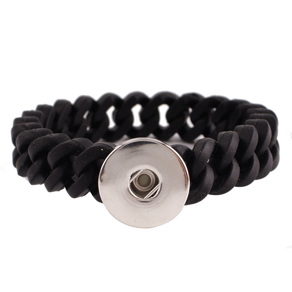 Snap Jewelry Thin Bracelet Silicone Stretch - Black Single Snap