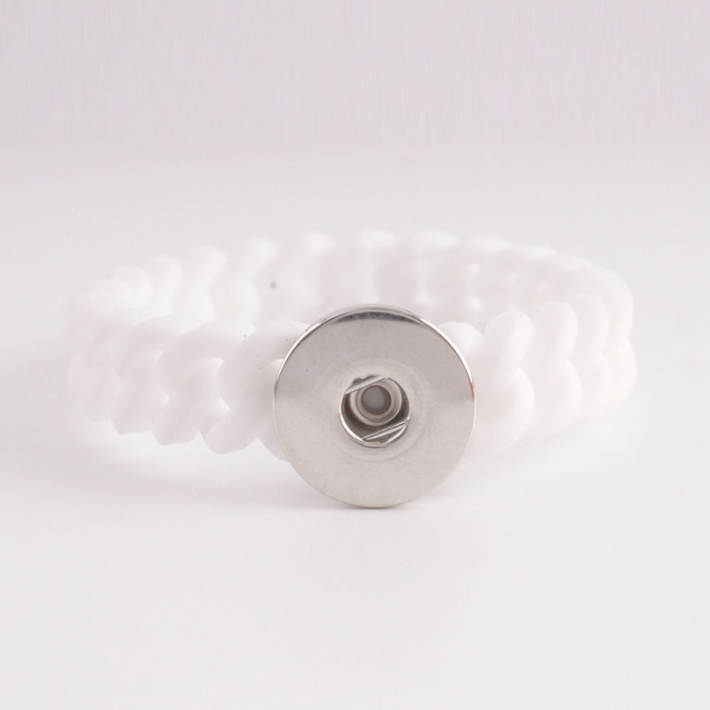 Snap Jewelry Bracelet Silicone Stretch Thin - White Single Snap