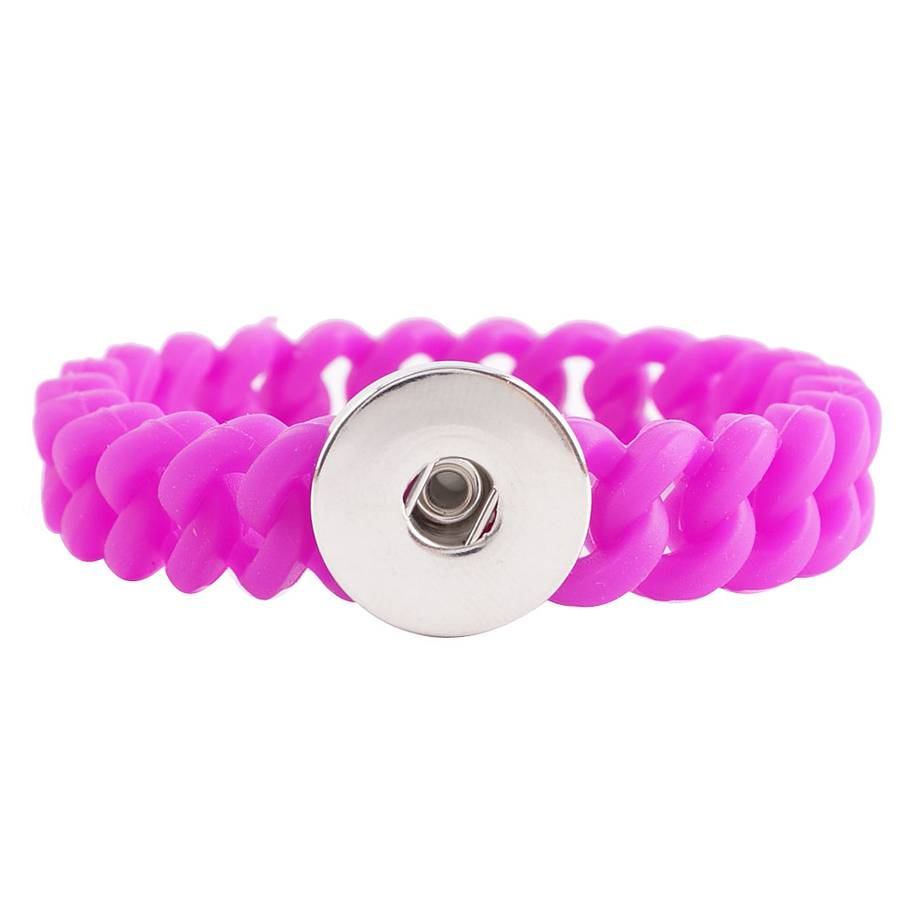 Snap Jewelry Bracelet Silicone Fuschia Thin Holds 1 18-20mm 7.2""