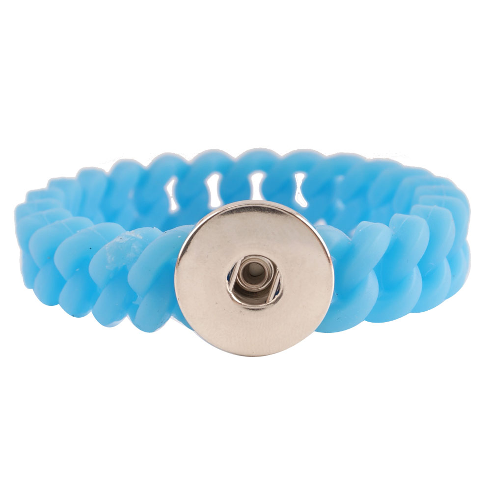 Snap Jewelry Bracelet Silicone Blue Thin Holds 1 18-20mm 7.2""