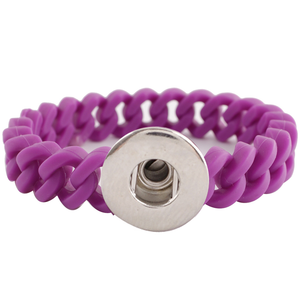 Snap Jewelry Bracelet Silicone Purple Thin Holds 1 18-20mm 7.2""