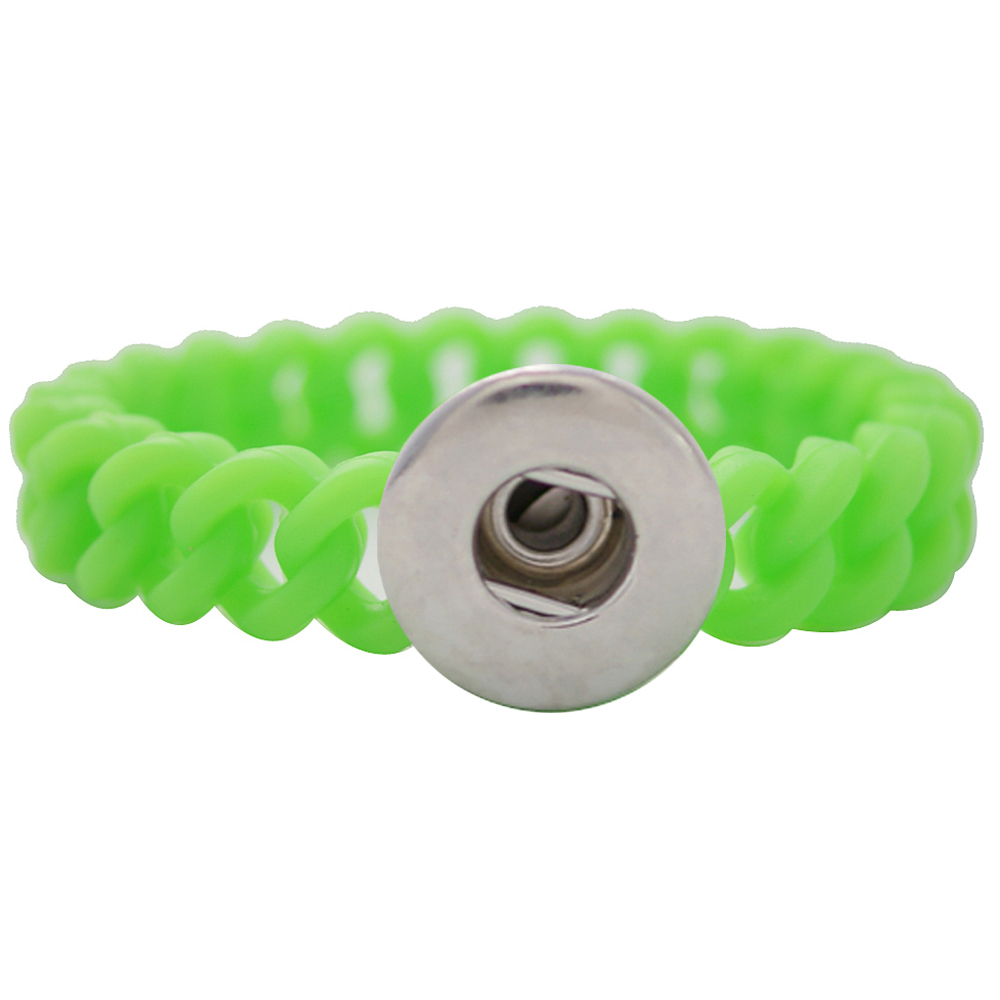 Snap Jewelry Bracelet Silicone Stretch - Lime One-Snap Thin