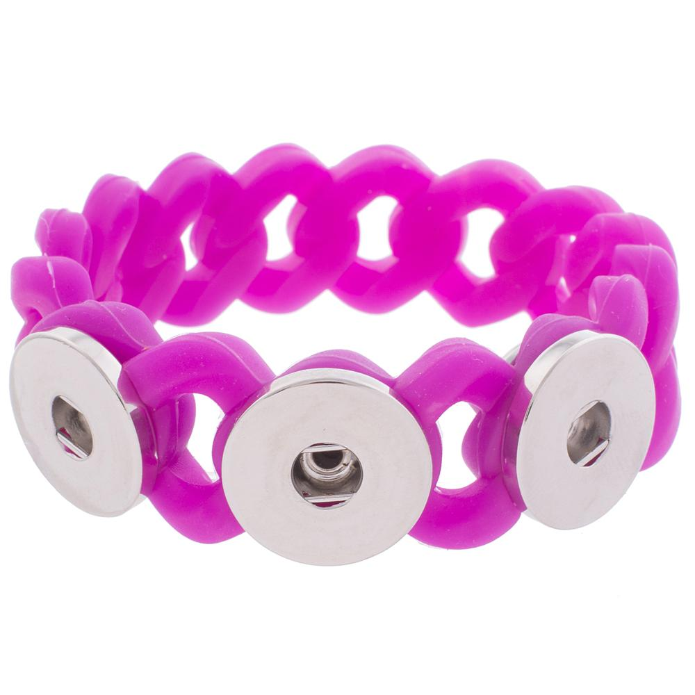 Snap Jewelry Bracelet Silicone Fuschia Holds 3 18-20mm Snap 7.2""