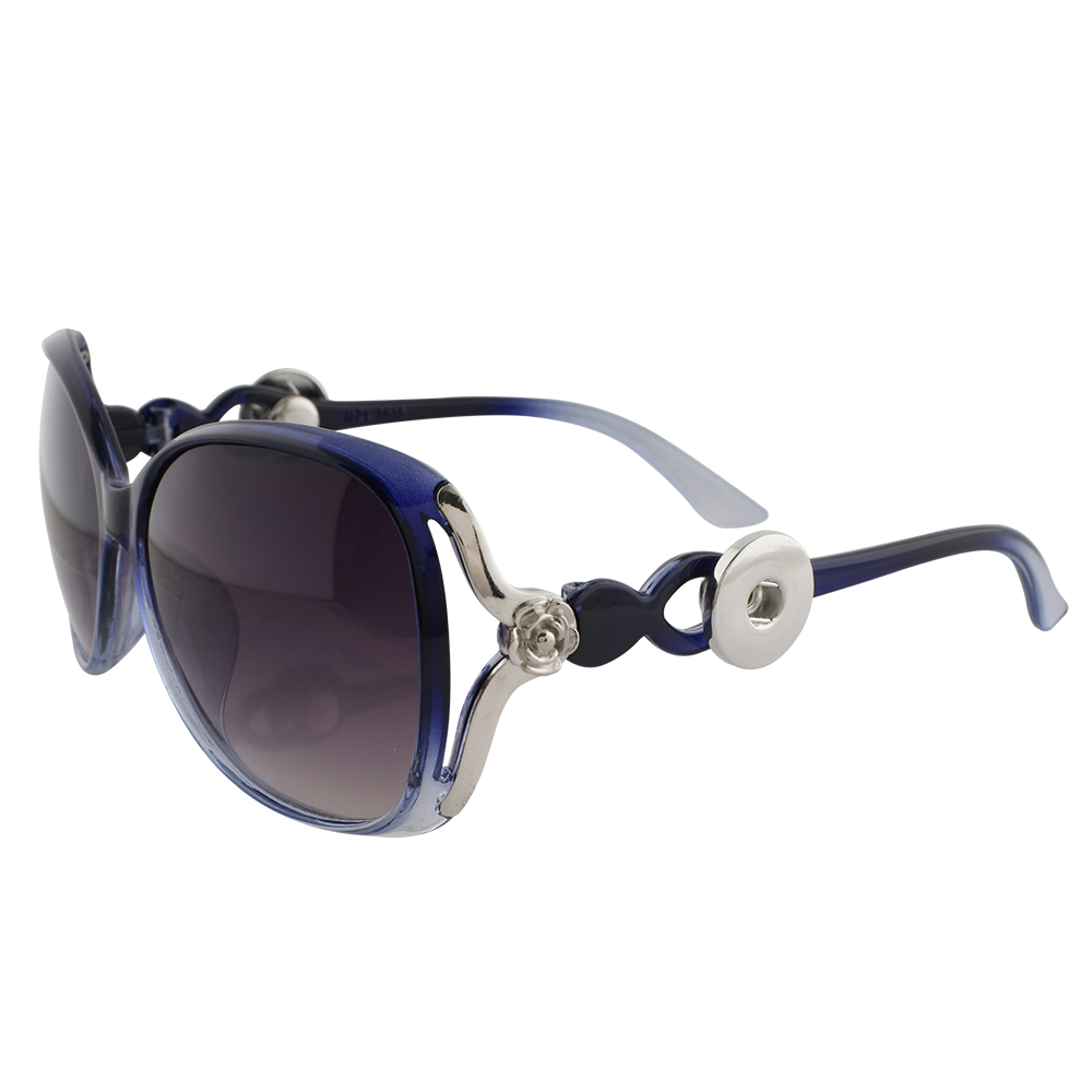 Snap Jewelry Sunglasses - Blue with Silver Rose Accent