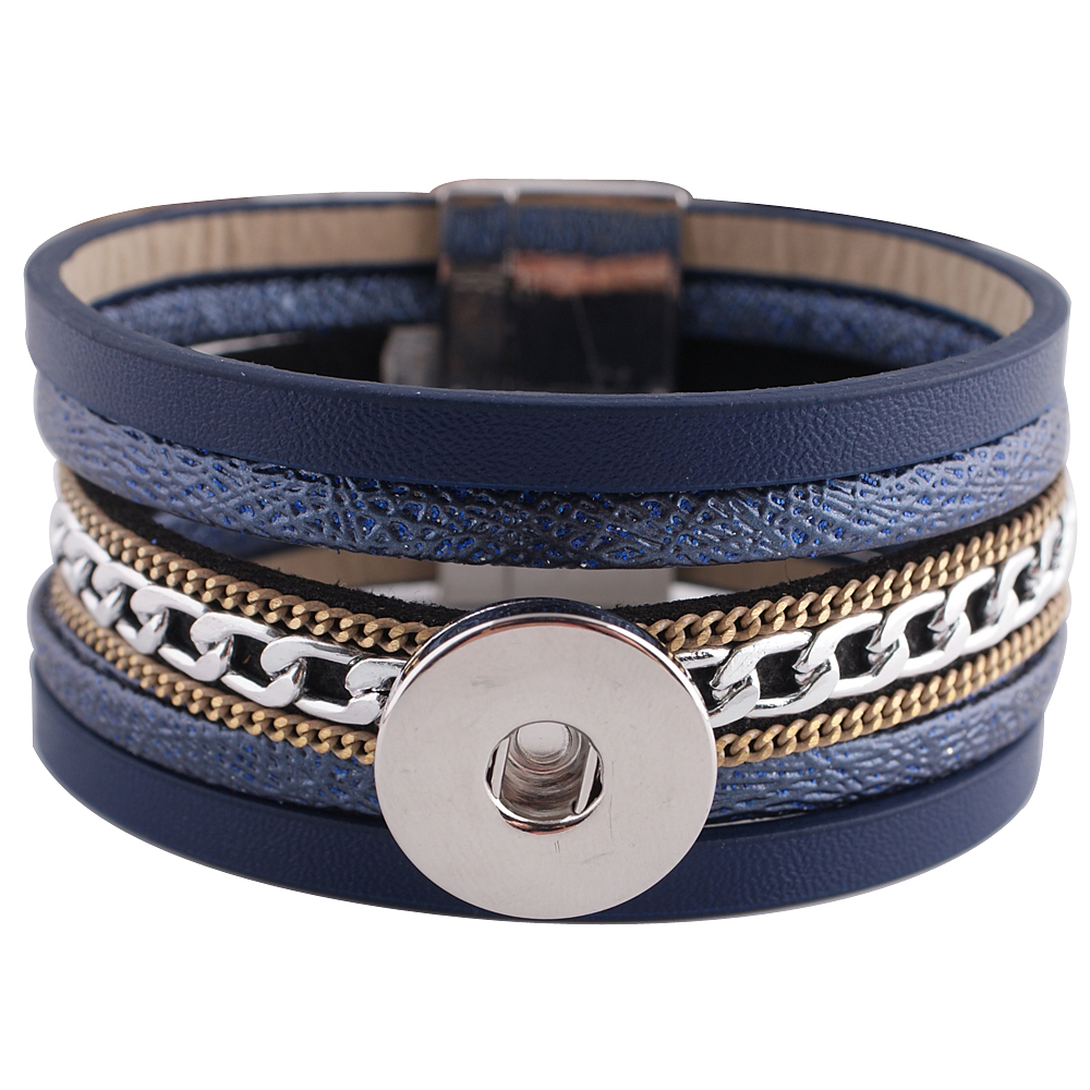 Snap Jewelry 18-20mm Magnetic Blue Leather Bracelet 8""