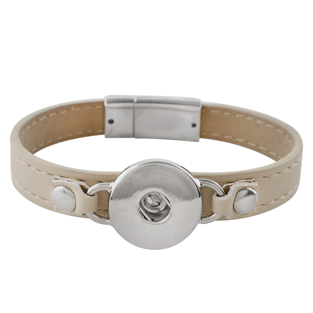 Snap Jewelry Bracelet Leather Magnet Clasp - Beige & Silver