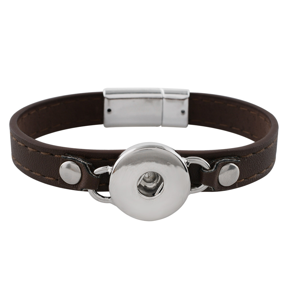 Snap Jewelry Bracelet Leather Magnet Clasp - Brown & Silver