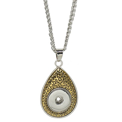 Snap Jewelry Necklace & Pendant - Teardrop Gold & Silver