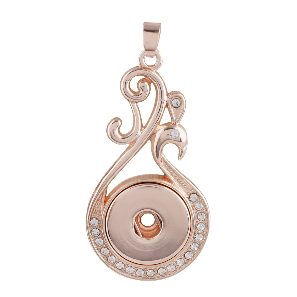 Snap Jewelry Rhinestone Pendant Rose Gold Swirl