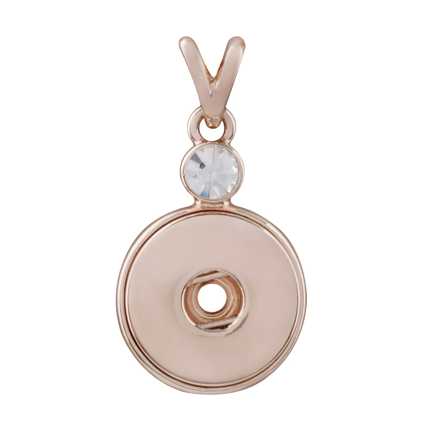 Snap Jewelry Rhinestone Pendant Rose Gold Large CZ